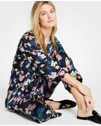 Ann Taylor Printed Pajama Set - Black