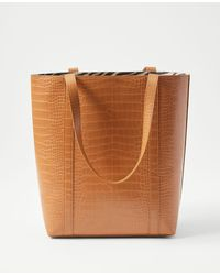 Ann Taylor Crocodile Print Tote Bag - Brown