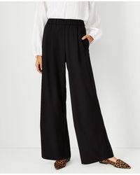 Ann Taylor The Pleated Pull On Wide Leg Pant - Black