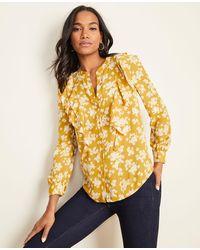 Ann Taylor Petaled V-neck Ruffle Popover Blouse - Yellow