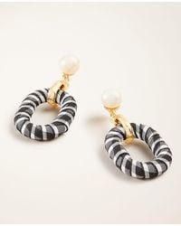 Ann Taylor Gingham Pearlized Drop Earrings - Black