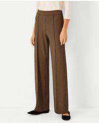 Ann Taylor The Houndstooth Side Zip Straight Pant - Curvy Fit - Brown