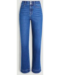 Ann Taylor Sculpting Pocket High Rise Straight Jeans In Bright Authentic Indigo Wash - Blue
