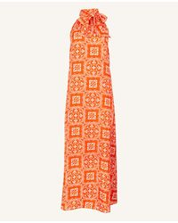 Ann Taylor Tall Tiled Halter Maxi Dress - Orange