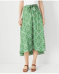 Ann Taylor Tile Print Knotted Midi Skirt - Green