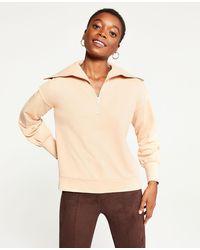 Ann Taylor Zip Collar Sweatshirt - Natural