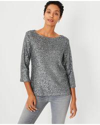 Ann Taylor Sequin Long Sleeve Top - Grey