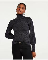 Ann Taylor Petite Shimmer Puff Sleeve Turtleneck Jumper - Black