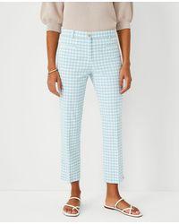 Ann Taylor The Gingham Cotton Crop Pant - Curvy Fit - Blue