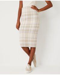 Ann Taylor Plaid Jumper Pencil Skirt - White