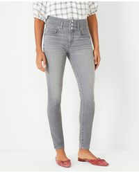 Ann Taylor Tall Sculpting Pocket High Rise Skinny Jeans In Icy Grey