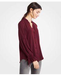 2931aaacab7f3 Lyst - Ann Taylor Petite Stripe Tie Sleeve Blouse in Red