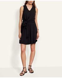 Ann Taylor Petite Matte Jersey Tie Waist Romper - Black