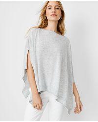 Ann Taylor Knit Ribbed Poncho - Grey