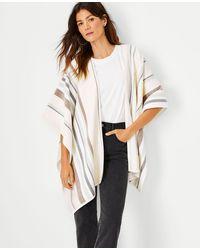 Ann Taylor Striped Reversible Poncho - White
