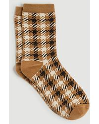 Ann Taylor Houndstooth Trouser Socks - Natural