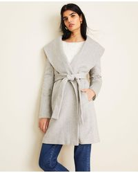 Ann Taylor Herringbone Shawl Collar Wrap Coat - Gray