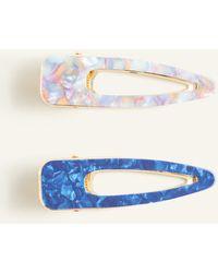 Ann Taylor Triangle Tortoiseshell Print Hair Clip Set - Blue