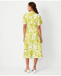 Ann Taylor Floral Tie Waist Midi Dress - Yellow