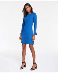 Ann Taylor Button Cuff Ponte Shift Dress - Blue