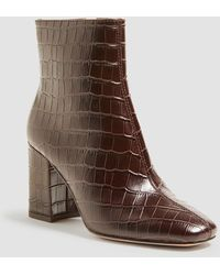 Ann Taylor North Embossed Leather Heeled Booties - Brown