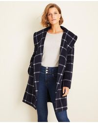 Ann Taylor Petite Windowpane Shawl Collar Wrap Coat - Blue