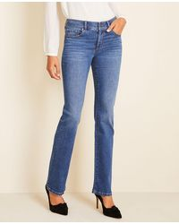 Ann Taylor Sculpting Pocket Slim Boot Cut Jeans In Mid Stone Wash - Blue