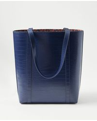 Ann Taylor Crocodile Print Tote Bag - Blue
