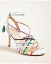 Ann Taylor Oren Rainbow Leather Sandals - White