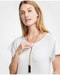 Ann Taylor - Beaded Tassel Pendant Necklace - Lyst