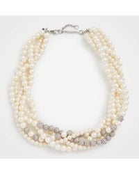Ann Taylor - Twisted Pearlized Pave Necklace - Lyst