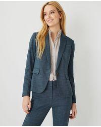 Ann Taylor The Petite One-button Blazer In Crosshatch - Blue