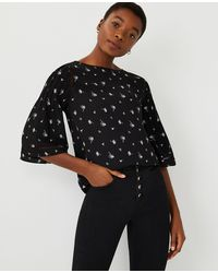 Ann Taylor Petite Floral Mixed Media Flare Sleeve Top - Black
