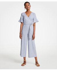 Ann Taylor - Fluted Sleeve Linen Blend Jumpsuit - Lyst