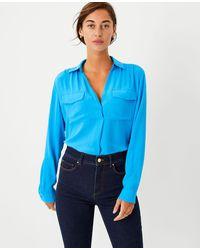 Ann Taylor Camp Shirt - Blue