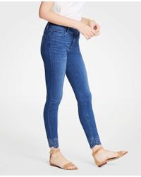 Ann Taylor - Modern Embroidered Hem All Day Skinny Jeans - Lyst