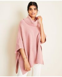 Ann Taylor Ribbed Turtleneck Poncho - Pink