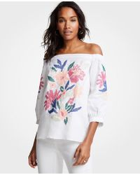 Ann Taylor - Floral Embroidered Off The Shoulder Top - Lyst