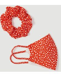 Ann Taylor Face Mask And Scrunchie Set - Red
