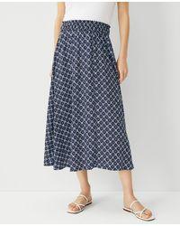 Ann Taylor Petite Medallion Pull On Maxi Skirt - Blue
