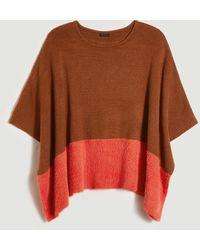 Ann Taylor Cozy Striped Poncho - Orange