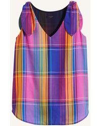 Ann Taylor Petite Madras Plaid Tie Shoulder Tank - Blue