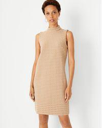 Ann Taylor Geo Mock Neck Shift Dress - Natural