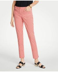 Ann Taylor - The Tall Cotton Crop Pant In Gingham - Lyst