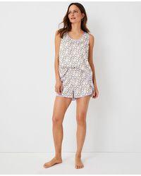 Ann Taylor Heart Chain Pajama Set - White