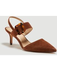 Ann Taylor Theodora Buckle Slingback Court Shoes - Brown