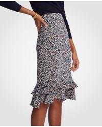 Ann Taylor - Floral Ruffle Pencil Skirt - Lyst