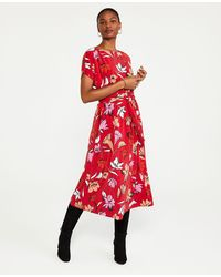 Ann Taylor Floral Tie Waist Flare Dress - Red