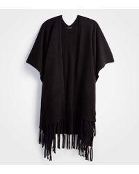 Ann Taylor - Fringe Knit Poncho - Lyst