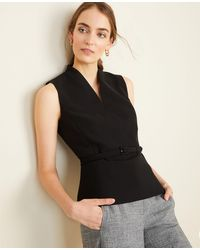 Ann Taylor The Belted Top In Doubleweave - Black